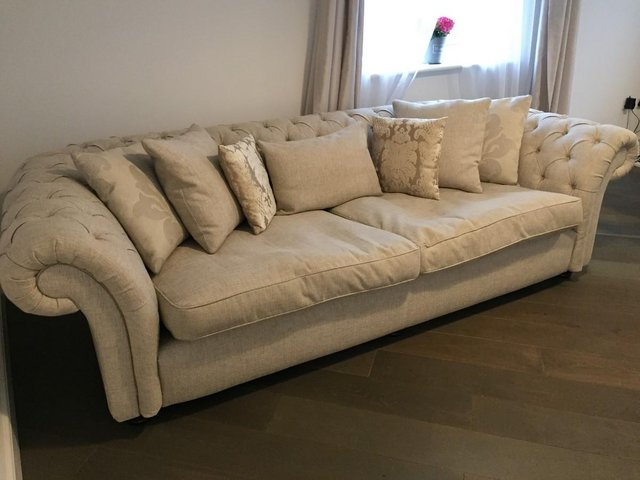 4 Seater Fabric Chesterfield, Furniture Village, 2 Years Old