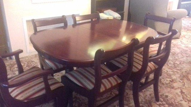 I Have For Sale An Large Extending Dining Table Complete With Two Armed Chairs And 4 Normal All Are Upholstered Good Condition Buyer Must Be