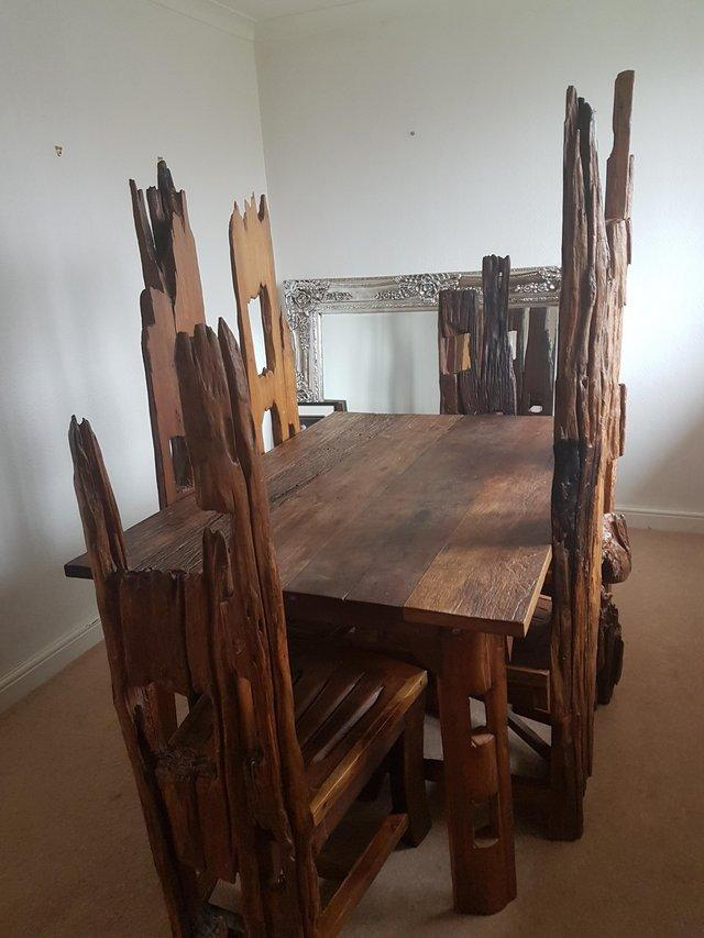 Rustic Real Wood Dining Table And 6 Chairs