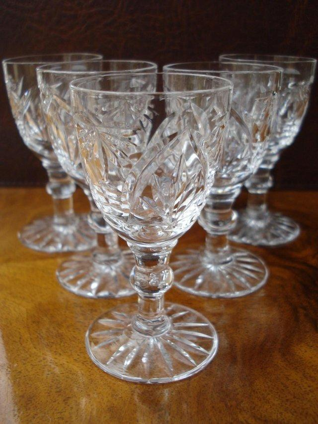 Preview of the first image of 5 x ANTIQUE LEAD CUT GLASS SET OF STUART CRYSTAL STOURBRIDGE.