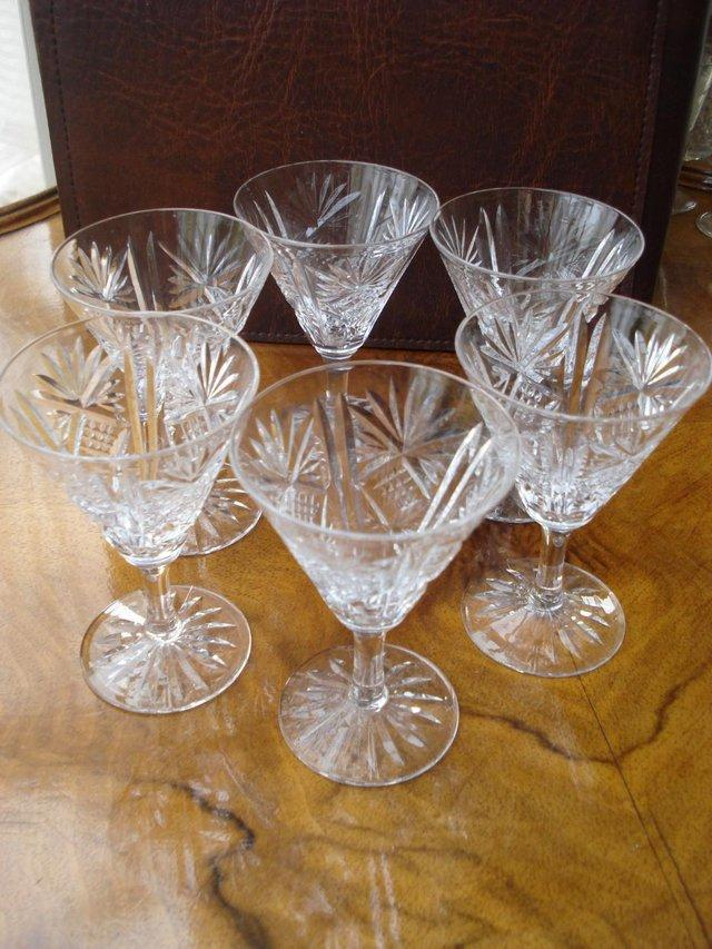 Preview of the first image of 6 x ANTIQUE LEAD CUT GLASS SET OF STUART CRYSTAL STOURBRIDGE.