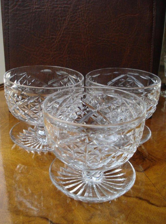 Preview of the first image of 3 x ANTIQUE LEAD CUT GLASS SET OF STUART CRYSTAL STOURBRIDGE.