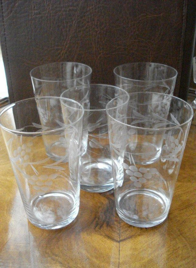 Preview of the first image of 5 x ANTIQUE CUT GLASS SET OF STUART CRYSTAL STOURBRIDGE.