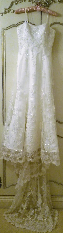 Image 2 of ETERNITY WEDDING DRESS White Ivory Satin Lace Diamante Pearl