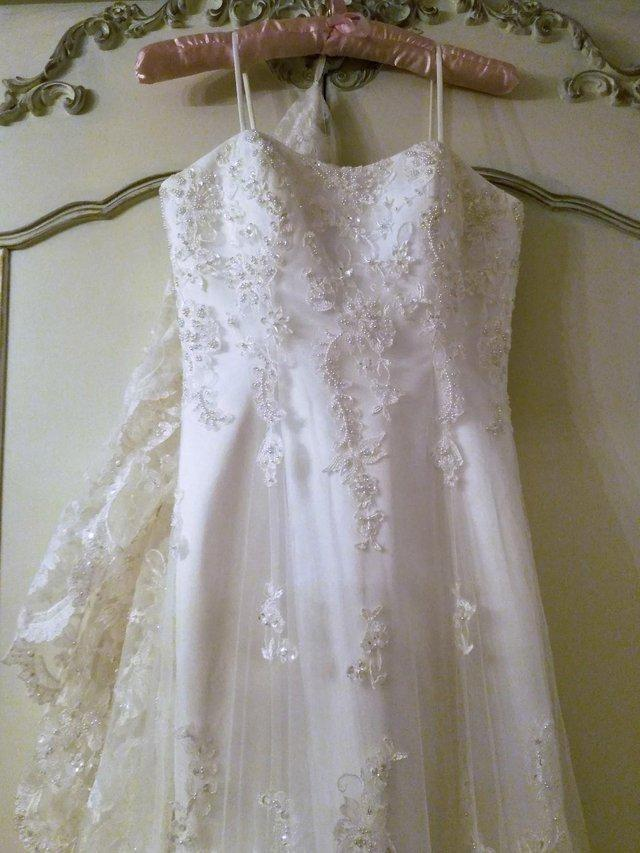 Preview of the first image of ETERNITY WEDDING DRESS White Ivory Satin Lace Diamante Pearl.