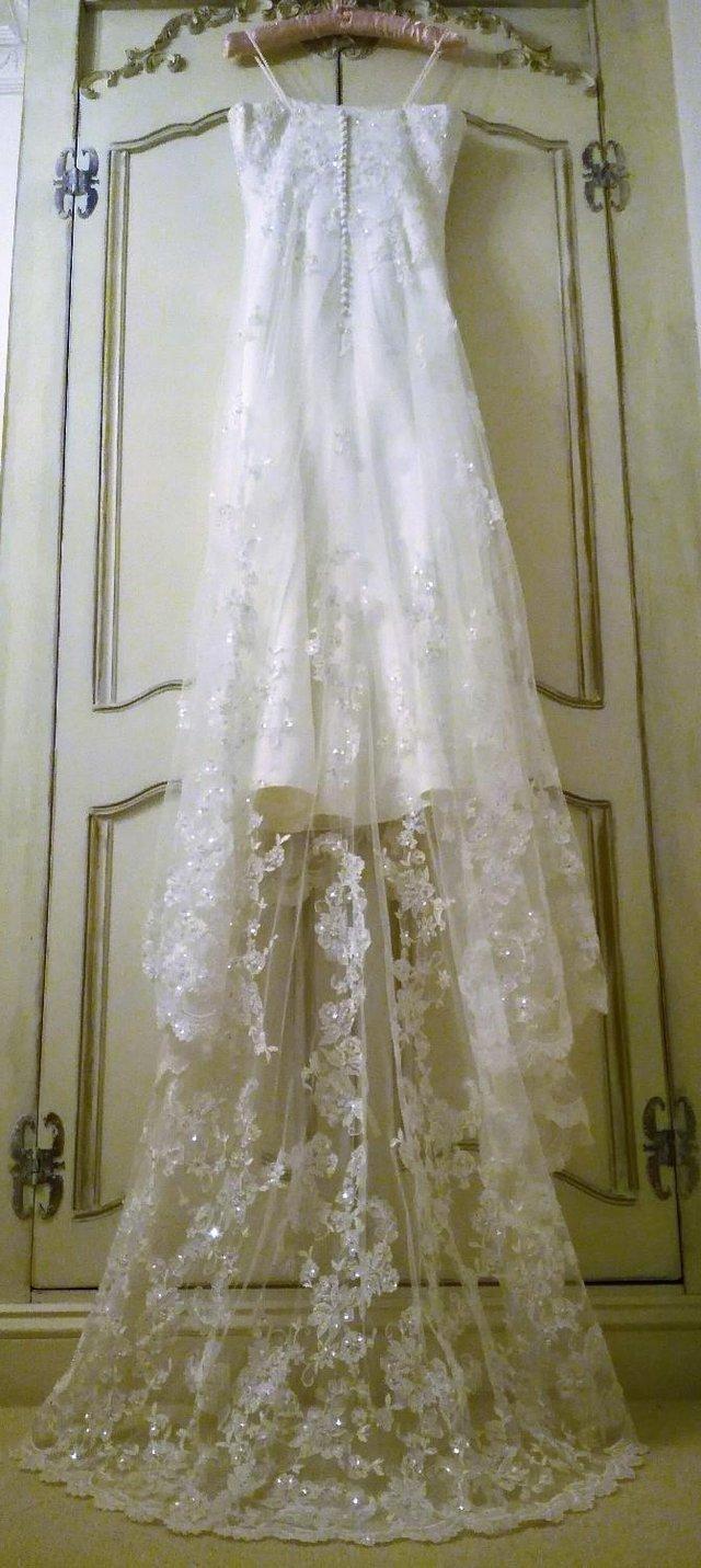 Image 3 of ETERNITY WEDDING DRESS White Ivory Satin Lace Diamante Pearl