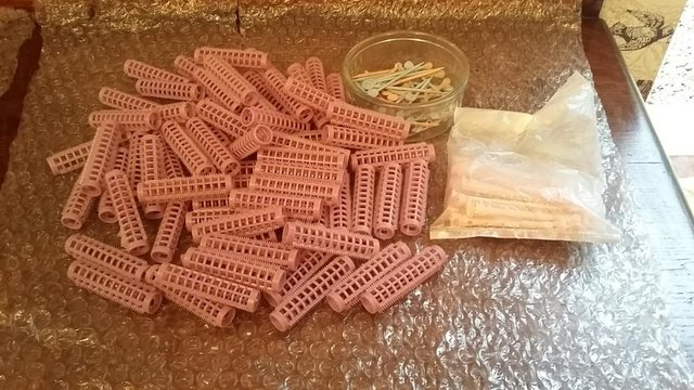 Image 2 of Vintage Collection of Perming Rollers, Rubbers and Pins