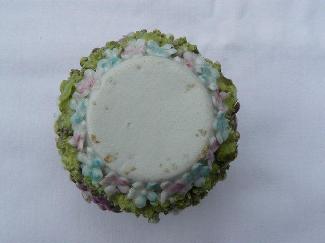 Image 2 of Antique hard paste porcelain encrusted floral posy pot 6cm