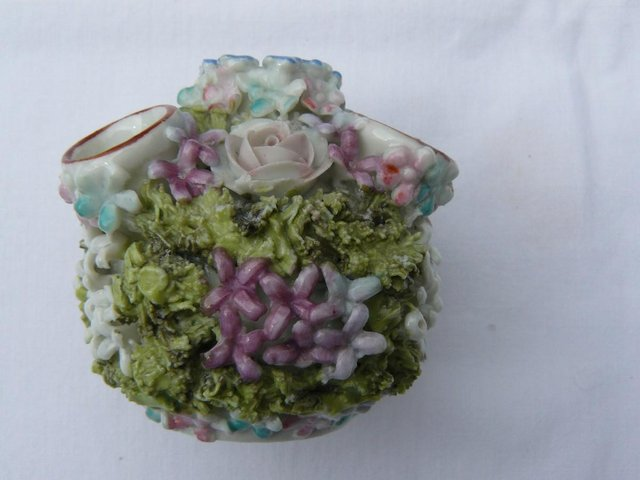 Preview of the first image of Antique hard paste porcelain encrusted floral posy pot 6cm.