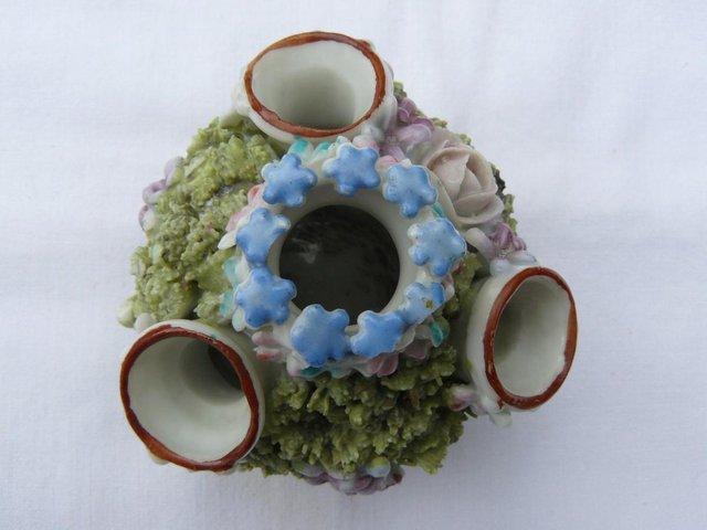 Image 3 of Antique hard paste porcelain encrusted floral posy pot 6cm