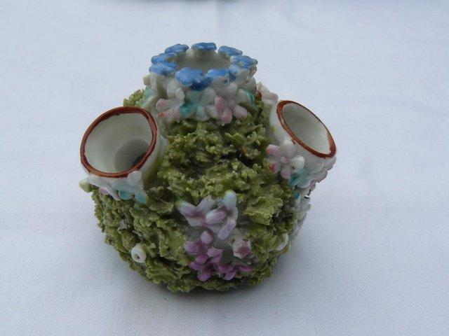 Image 4 of Antique hard paste porcelain encrusted floral posy pot 6cm