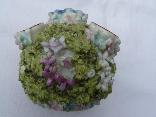 Image 5 of Antique hard paste porcelain encrusted floral posy pot 6cm