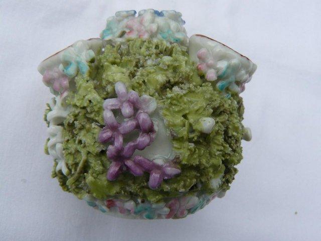 Image 6 of Antique hard paste porcelain encrusted floral posy pot 6cm