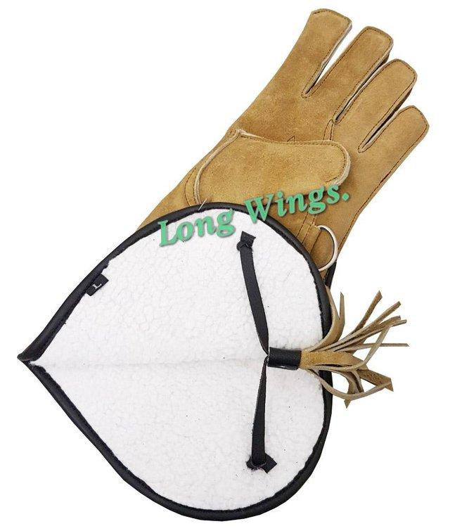 Image 3 of Falconry Suede leather Winter Gloves Wool Lining.