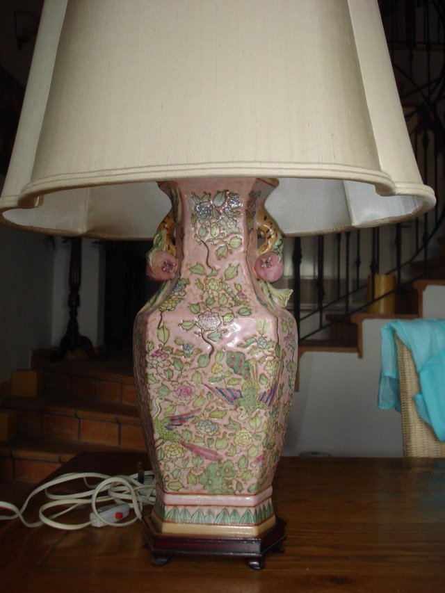 Preview of the first image of Pair of beautiful Chinese porcelain table lamps with shades.