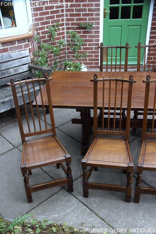Image 16 of A NIGEL RUPERT GRIFFITHS OAK DINING SET TABLE & SIX CHAIRS