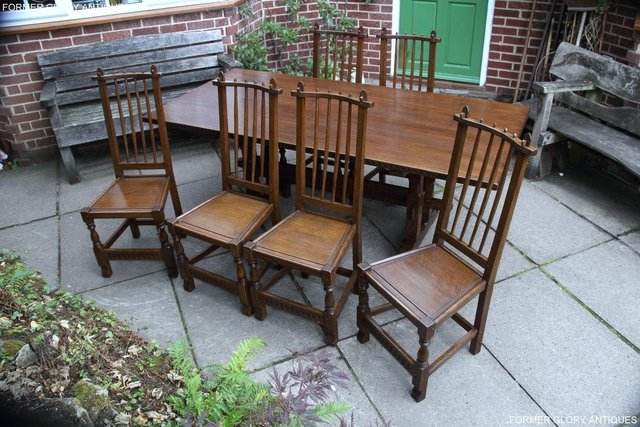 Image 20 of A NIGEL RUPERT GRIFFITHS OAK DINING SET TABLE & SIX CHAIRS