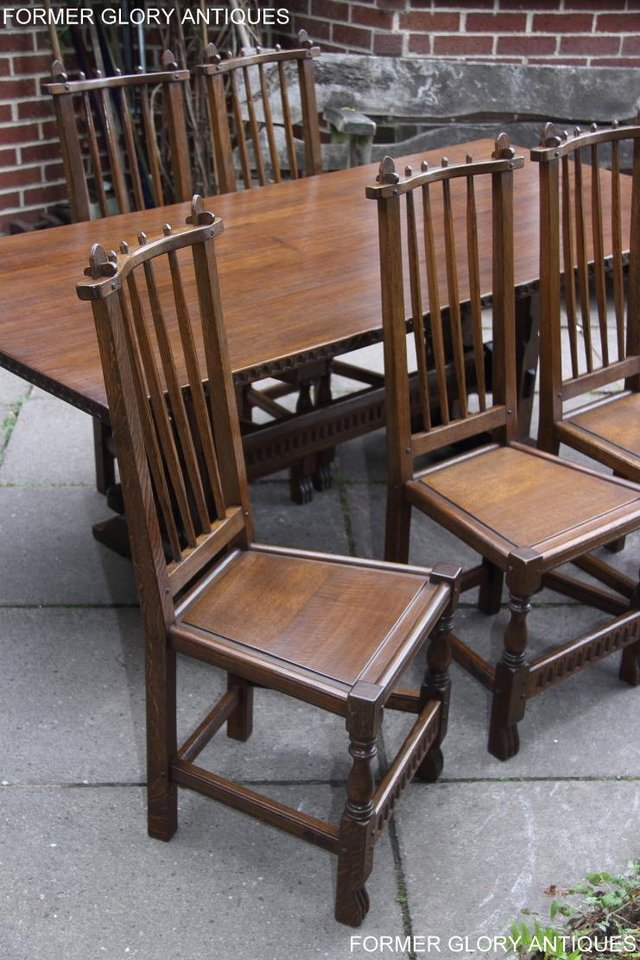 Image 29 of A NIGEL RUPERT GRIFFITHS OAK DINING SET TABLE & SIX CHAIRS