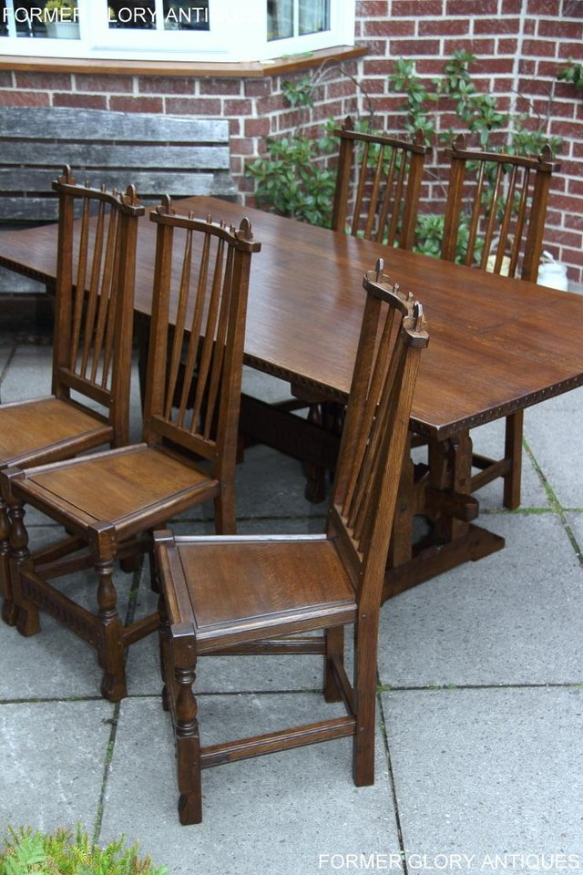 Image 37 of A NIGEL RUPERT GRIFFITHS OAK DINING SET TABLE & SIX CHAIRS