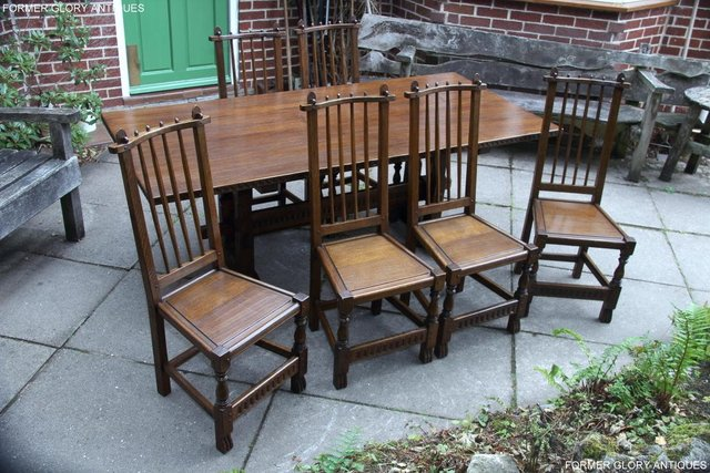 Image 43 of A NIGEL RUPERT GRIFFITHS OAK DINING SET TABLE & SIX CHAIRS