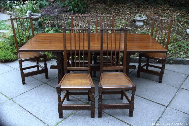 Image 58 of A NIGEL RUPERT GRIFFITHS OAK DINING SET TABLE & SIX CHAIRS