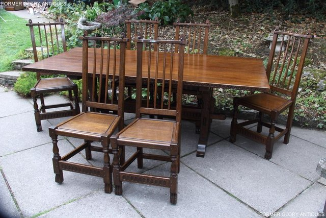 Image 71 of A NIGEL RUPERT GRIFFITHS OAK DINING SET TABLE & SIX CHAIRS