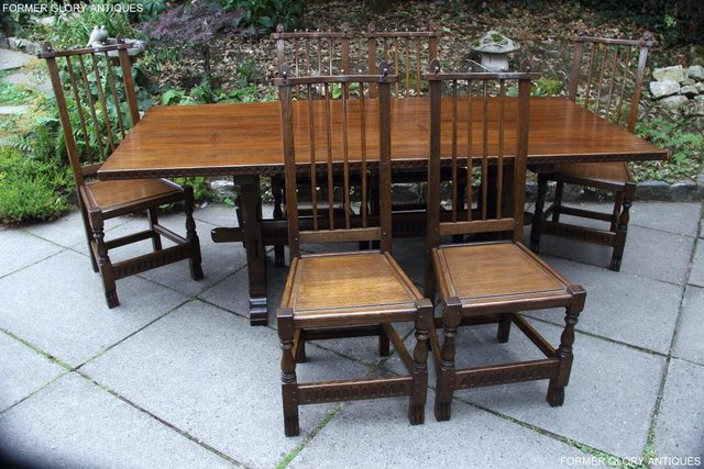 Image 78 of A NIGEL RUPERT GRIFFITHS OAK DINING SET TABLE & SIX CHAIRS