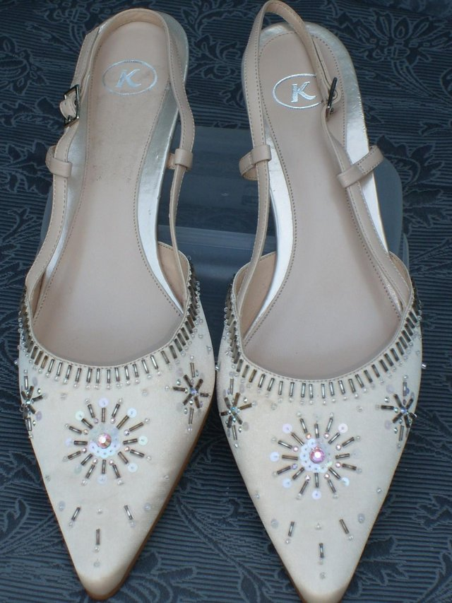 b8f4d51159bd K SHOES pale gold satin sling back with bead and sequin embellishments, new  and unworn. Beautiful pale gold shoes with silver tone buckle sling backs,  ...