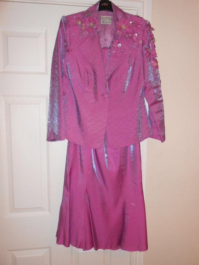 Preview of the first image of John Charles Size 12 Mother-of-the-Bride Dress, Jacket & Hat.