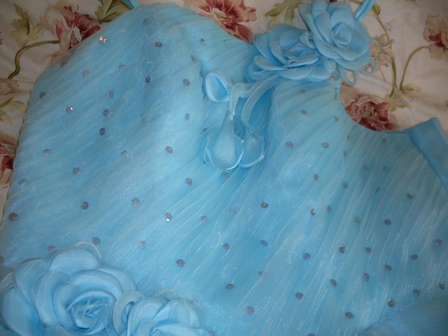 Image 3 of AQUA BLUE EVENING/BALL GOWN SIZE 14-16 ( NEW AND UNWORN )