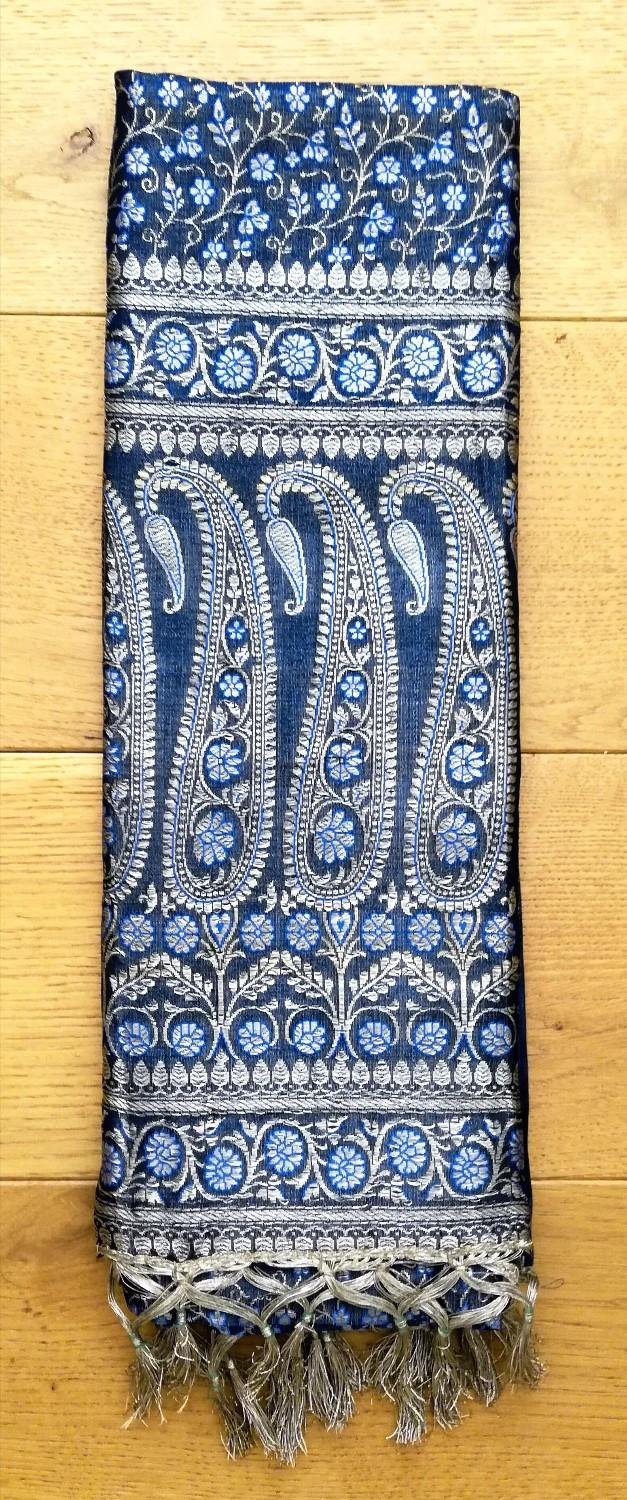 Preview of the first image of INDIAN Sari Fabric Turquoise Blue Silver Gold Wall Hanging.