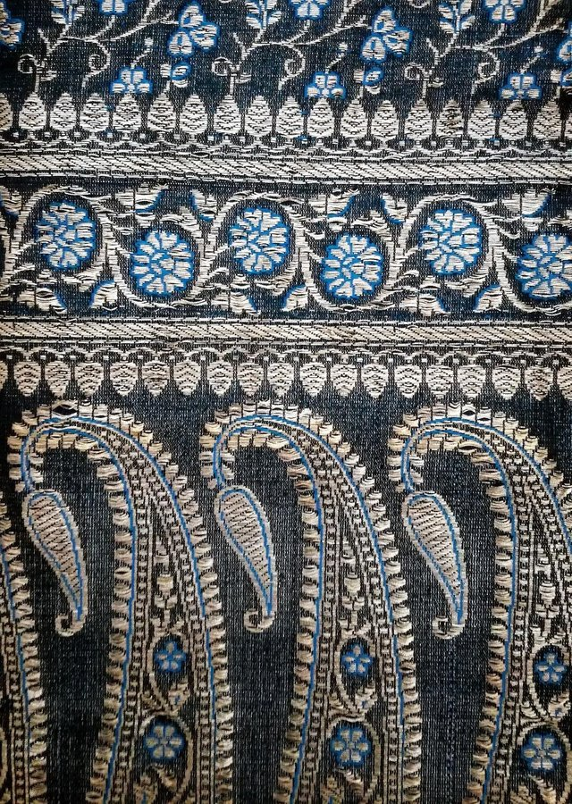 Image 2 of INDIAN Sari Fabric Turquoise Blue Silver Gold Wall Hanging