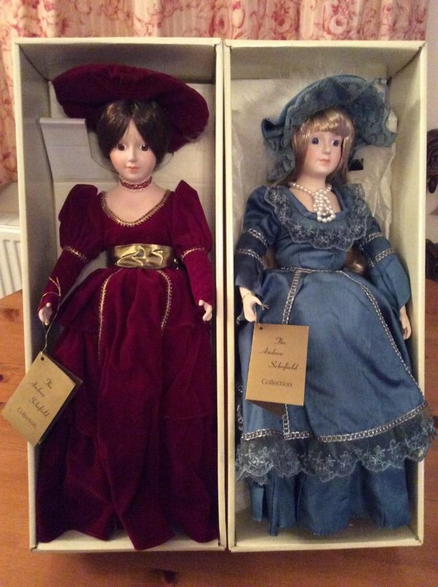 Preview of the first image of Andrew Schofield porcelain Victorian doll as new & boxed.