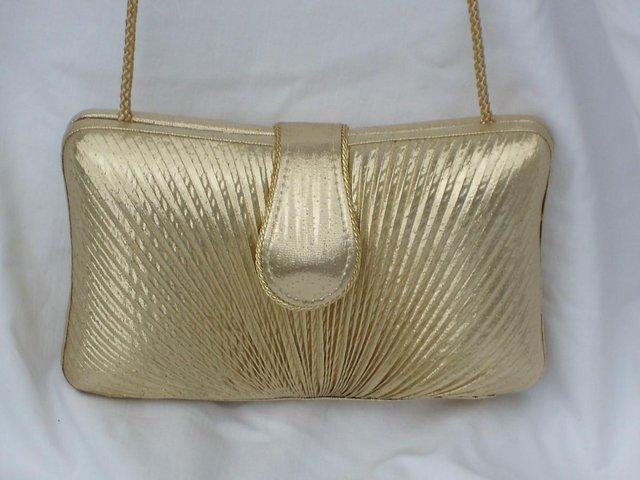 Image 5 of DENTS 1777 Vintage Look Gold Lamé Handbag/Clutch NEW!
