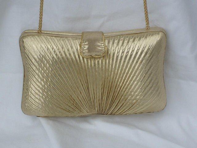 Image 6 of DENTS 1777 Vintage Look Gold Lamé Handbag/Clutch NEW!