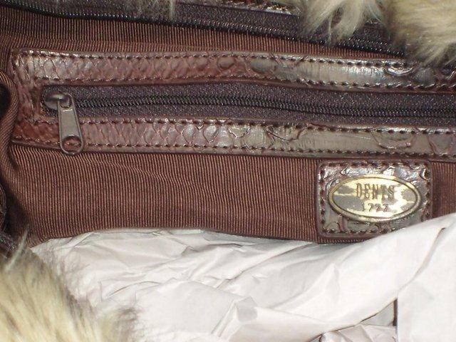 Image 4 of DENTS Brown Faux Furry Shoulder Handbag