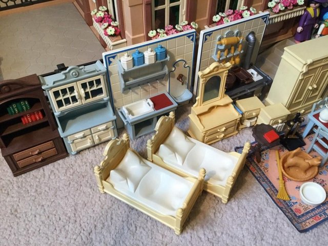 Image 6 of Playmobil Victorian House Fully Furnished & Figures Vintage