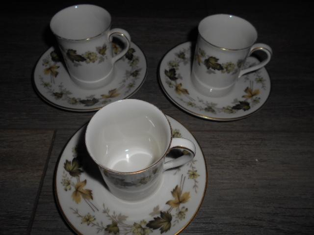 Preview of the first image of Royal Doulton Larchmont - Espresso Cups & Saucers x 3.