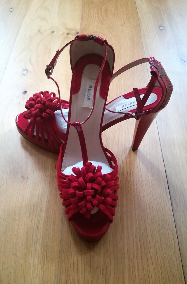 Preview of the first image of REISS RED SANDALS SUEDE PATENT LEATHER SHOES Peep Toe 41.