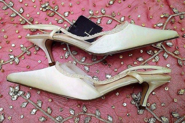 Preview of the first image of JASPER CONRAN Bridal Shoes Satin Beaded Sling Back WEDDING.