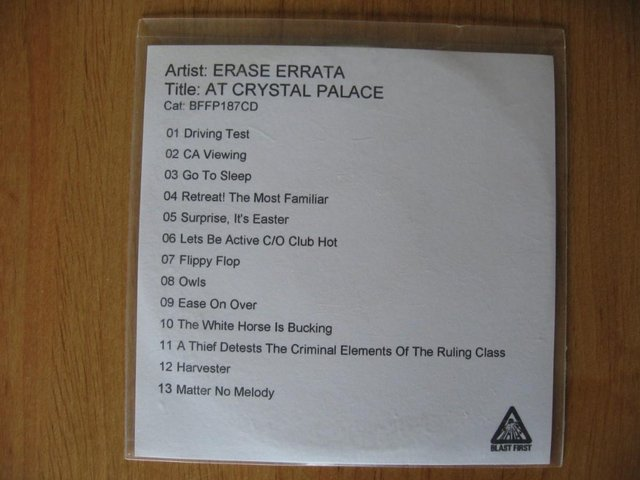 Image 3 of Erase Errata – At Crystal Palace – CD Album – Disc ONLY - Bl