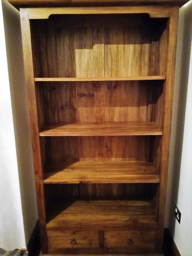 Preview of the first image of ANTIQUE PINE WOOD BOOKCASE Bookshelves Large 71.5x40.5x17.