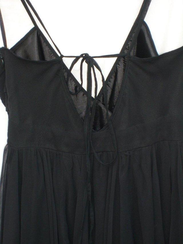 Image 3 of RARE LONDON Black Chiffon Mini Dress - Size 12