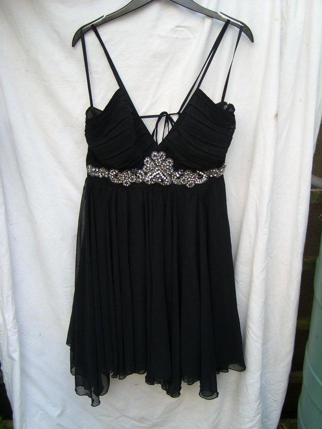 Image 5 of RARE LONDON Black Chiffon Mini Dress - Size 12