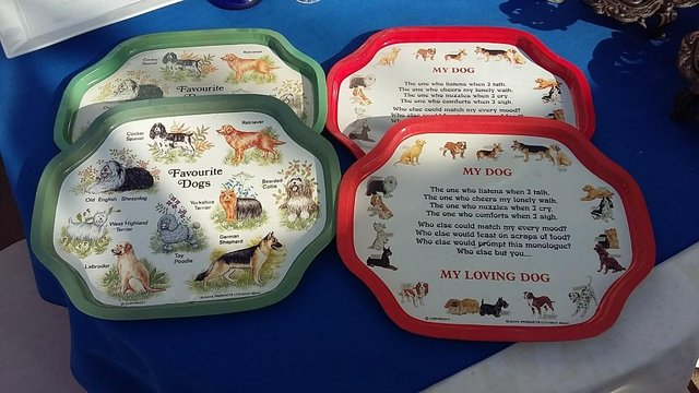 Preview of the first image of Vintage Retro Enamel Paint On Metal / Tin Plate Trays - Dogs.
