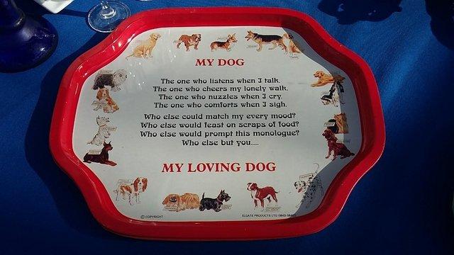Image 4 of Vintage Retro Enamel Paint On Metal / Tin Plate Trays - Dogs