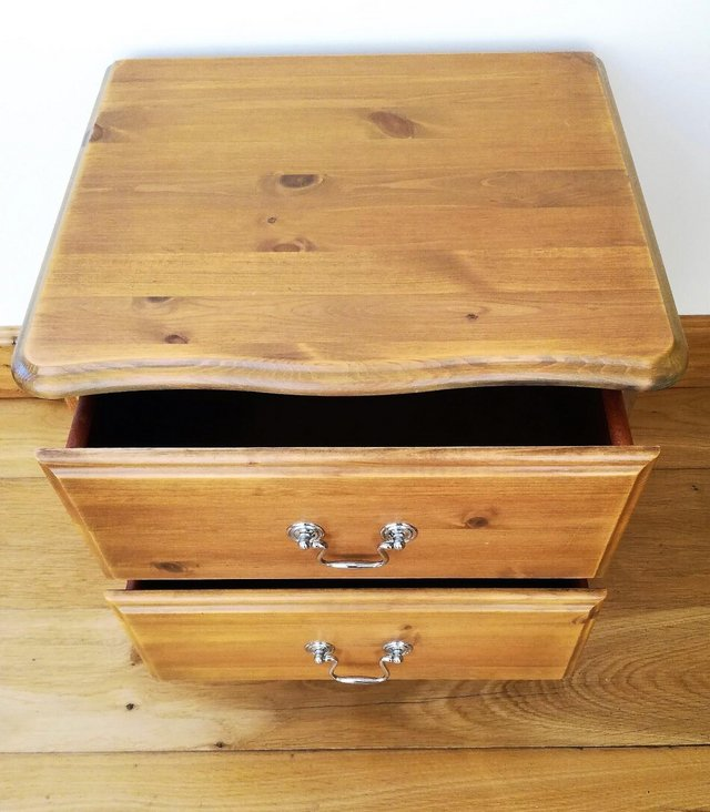Image 2 of CHEST OF DRAWS Pine Wood Furniture Cabinet 2 Drawer Chrome