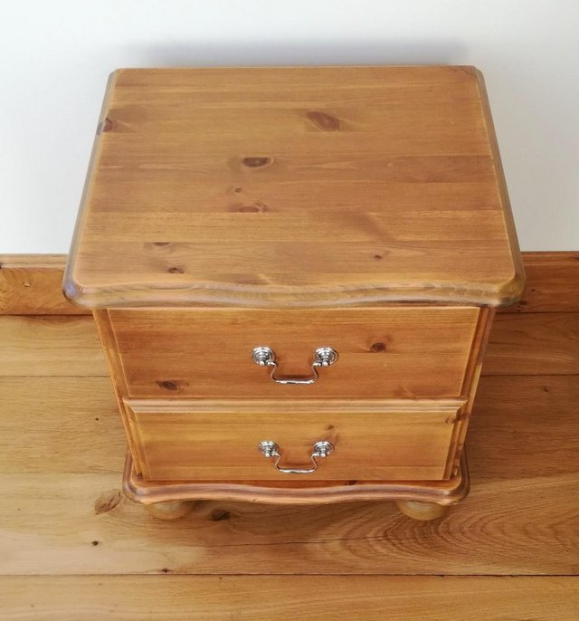 Preview of the first image of CHEST OF DRAWS Pine Wood Furniture Cabinet 2 Drawer Chrome.