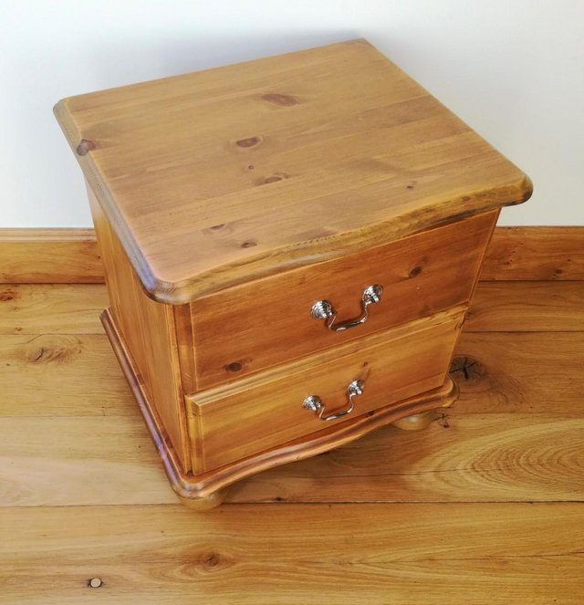 Image 3 of CHEST OF DRAWS Pine Wood Furniture Cabinet 2 Drawer Chrome