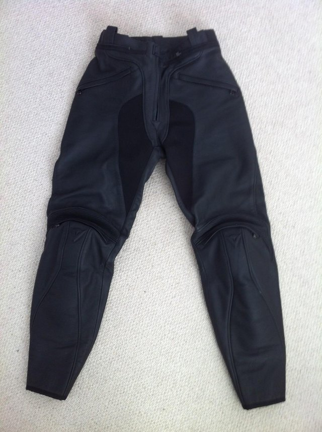 Preview of the first image of DAINESE LADIES FIREFLY BLACK LEATHER BIKE TROUSERS 44 10.